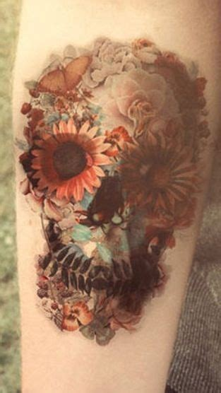 skull flower tattoo floral sugar skull tattoos piercings