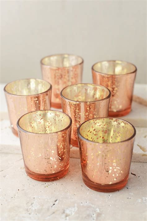 Gold Mercury Glass Vase 12 Rose Gold Mercury Glass Candle Holders