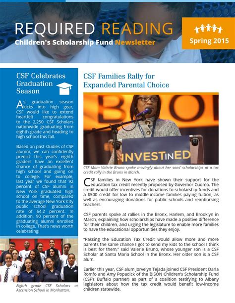 Scholarship Newsletter csf 2015 newsletter by children s scholarship fund issuu
