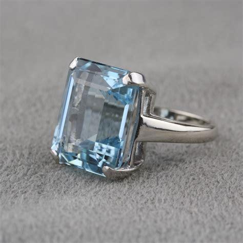 Aquamarine Rings by Pre Owned Vintage Aquamarine Ring In 14 Karat White Gold