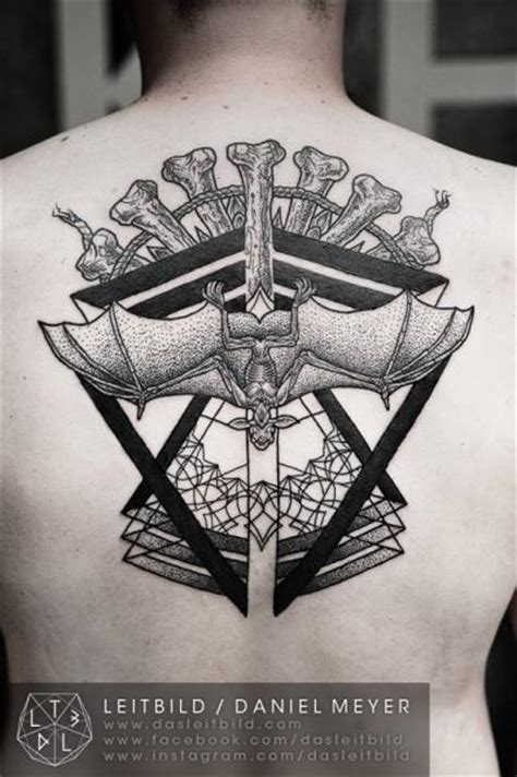 back dotwork bat bone tattoo by leitbild