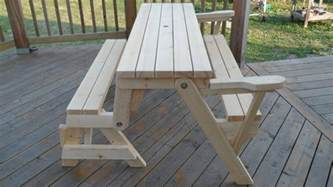 How To Make A Folding Picnic Table Bench by Folding Bench Amp Picnic Table Combo Kreg Owners Community