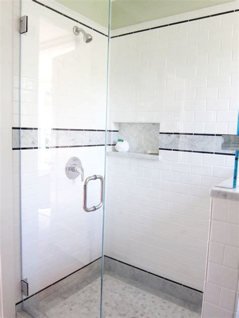 white marble subway tile bathroom shower with 3x6 subway tiles and white carrerra marble