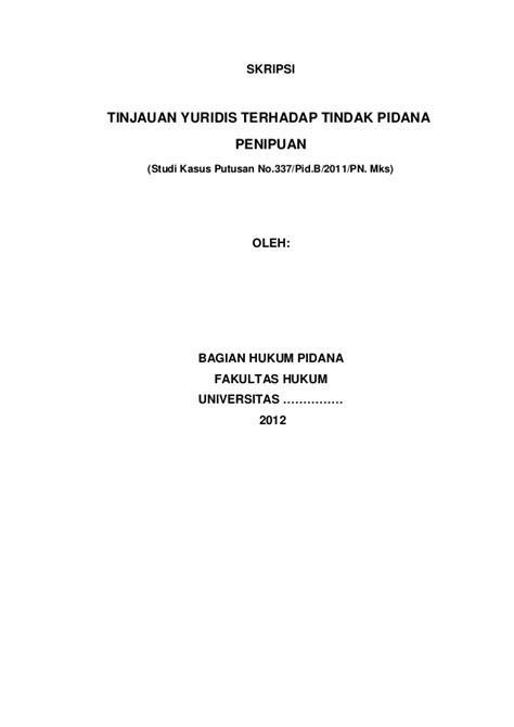 Skripsi lengkap hukum tindak pidana penipuan