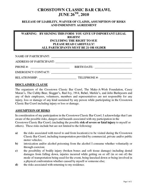 free release of liability template doc 809710 doc400518 liability waiver template release