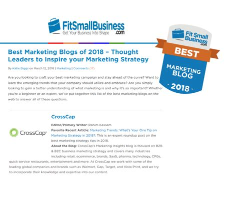 Best Image Blogs by Crosscap S Is On The Best Marketing Blogs Of 2018