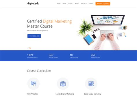 Digital Marketing Website Template digital marketing courses website template ease template