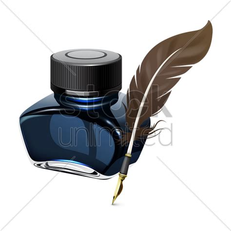 tattoo pen png ink bottle and quill pen vector image 1517937