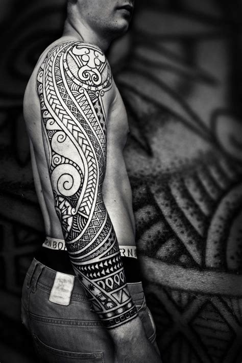 black and white tattoos for men black and white tribal sleeve for