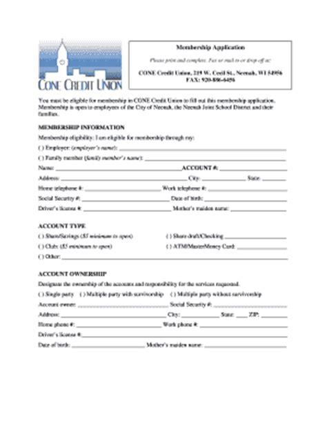 Credit Union Application Form Fillable Conecu Membership Application Cone Credit Union Fax Email Print Pdffiller