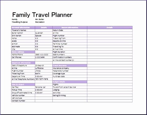 8 Travel Plan Template Excel Exceltemplates Exceltemplates Travel Plan Template Excel
