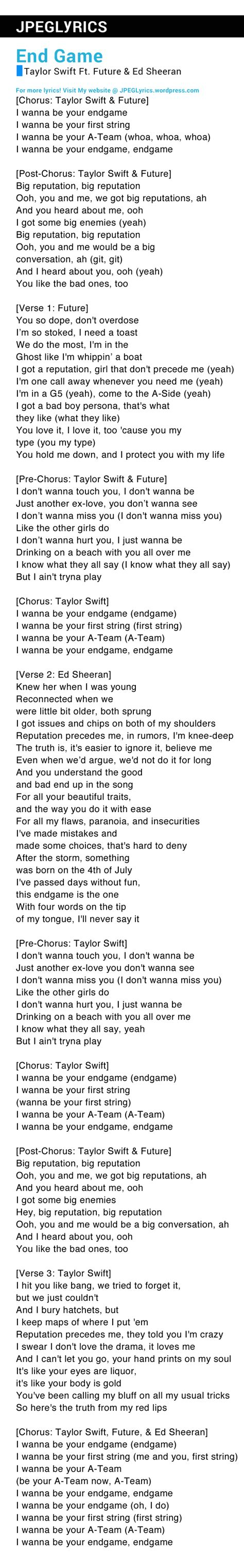 end game lyrics about end game by taylor swift ft future ed sheeran lyrics