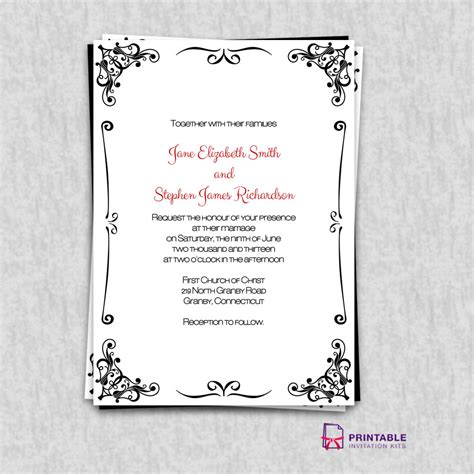 print at home invitation templates free pdf invitations retro border wedding invitation