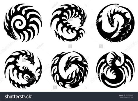 vector illustration set round tribal dragon stock vector
