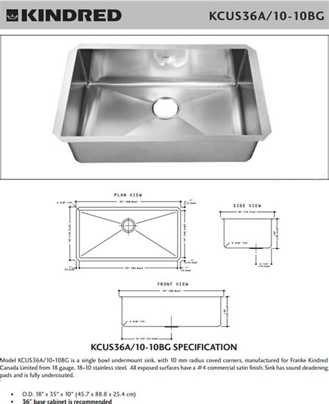 Kitchen Sink Dimension Kindred Stainless Steel Single Bowl Undermount Kitchen Kcus36a 10 10bg Ebay