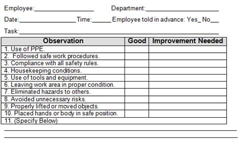 safety observation card template employee safety observation form pictures to pin on