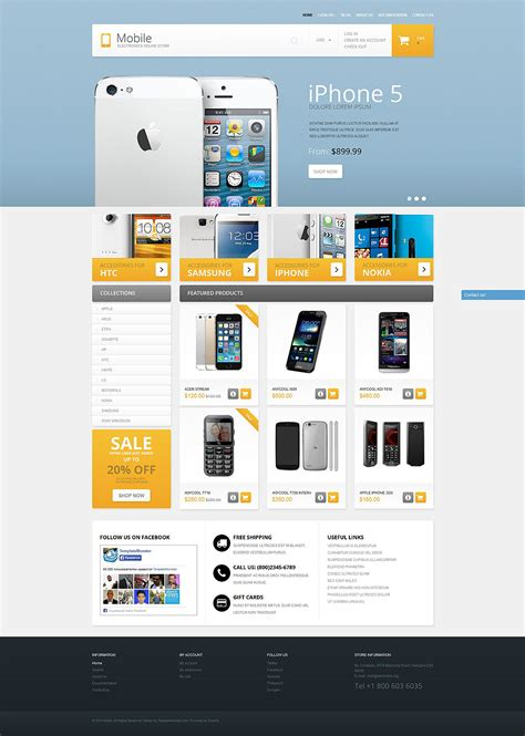 Mobile Phones Shopify Theme 51378 Smartphone Website Template