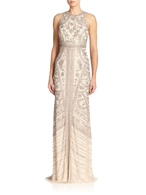 silver beaded gown theia beaded halter gown in metallic lyst