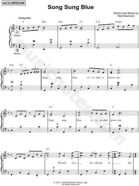 song sung blue neil diamond quot song sung blue quot sheet music in f major