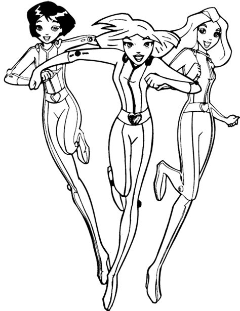 totally spies coloring page alex clover en sam