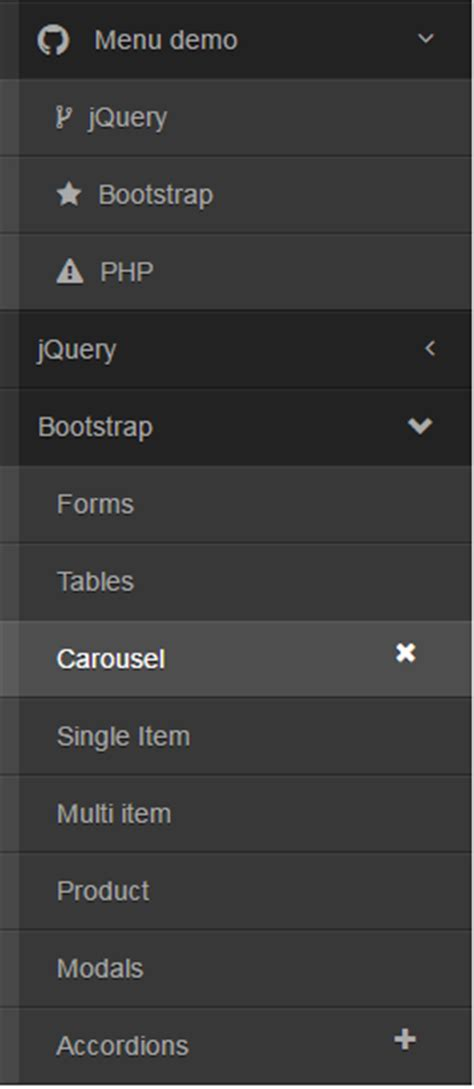 jquery toggle div a jquery menu for bootstrap with vertical animate and