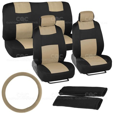 cloth car seat covers black and car seat covers cloth fabric beige set