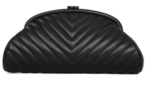 Chanel Quilted Clutch Bag by Chanel 2015 Black Lambskin Chevron Quilted Timeless Clutch