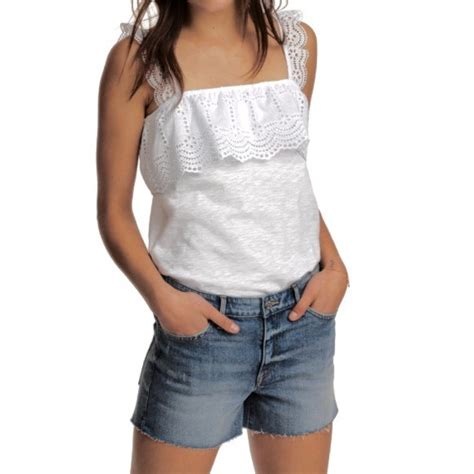 H M White 33 h m tops h m white ruffle eyelet embroidered top