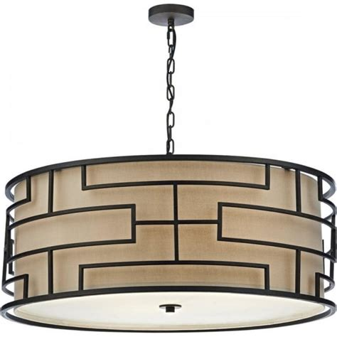 Deco Ceiling Lights Uk by Deco Hanging Ceiling Light With Bronze Frame And Taupe