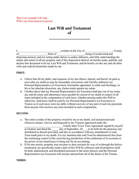 Last Will And Testament Sle In Word And Pdf Formats Last Will Testament Template