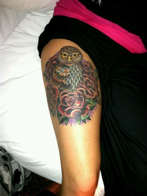 Owl Tattoo Thigh | my owl thigh tattoo owls pinterest owl love this