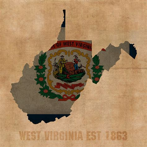 west virginia flag state map modern style by allchalkboard west virginia state flag map outline with founding date on