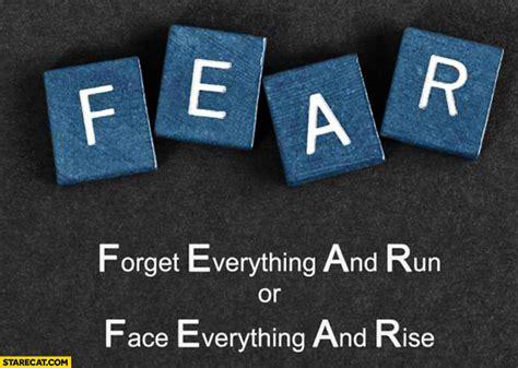 fear forget   run  face   rise starecatcom