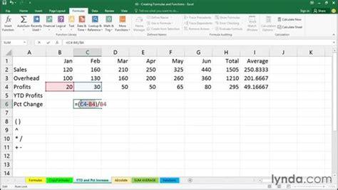creating a percentage change formula