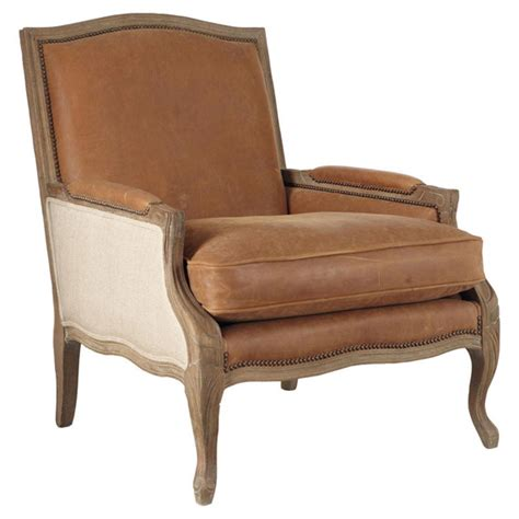 armchair french burford french style leather oak armchair oka