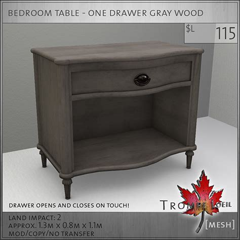 table l bedroom bedroom table one drawer gray l115 trompe loeil