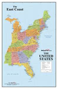 east map with cities east coast usa wall map maps