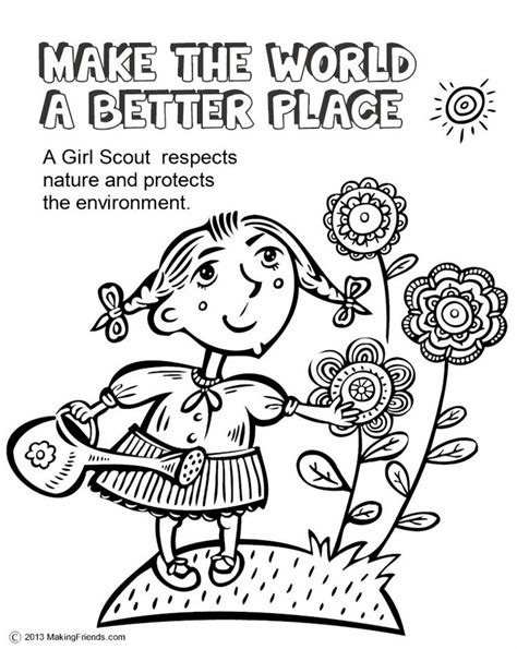 coloring pages girl scout daisies girl scouts make the world a better place this coloring