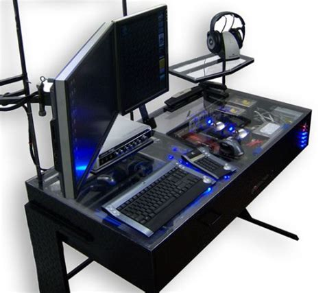 cool computer cool see through gaming computer desk super cool