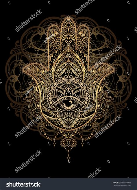 amulet tattoo ornate amulet hamsa stock vector 489880999