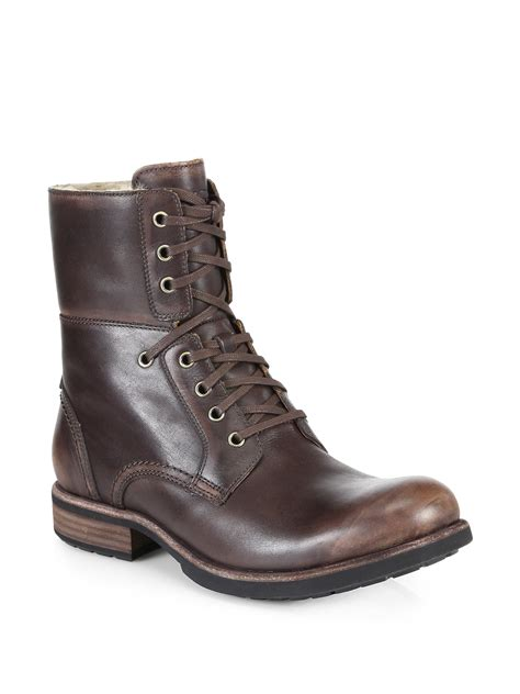 ugg boots for lyst ugg larus leather lace up boots in brown for