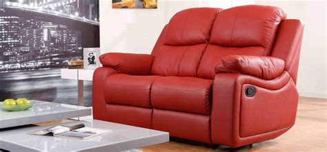 leather sofa montreal montreal rosso red reclining 2 seater leather sofa