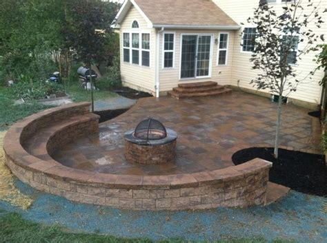 patio wall ideas paver patio sitting wall and firepit backyard ideas