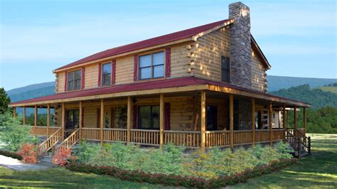 small 2 story 3 bedroom cabin with wraparound porch log home design plan and kits for prairie