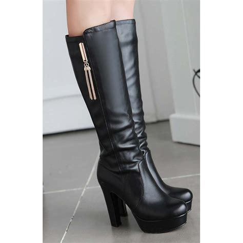 knee high black heel boots black chunky knee high platform heel boots