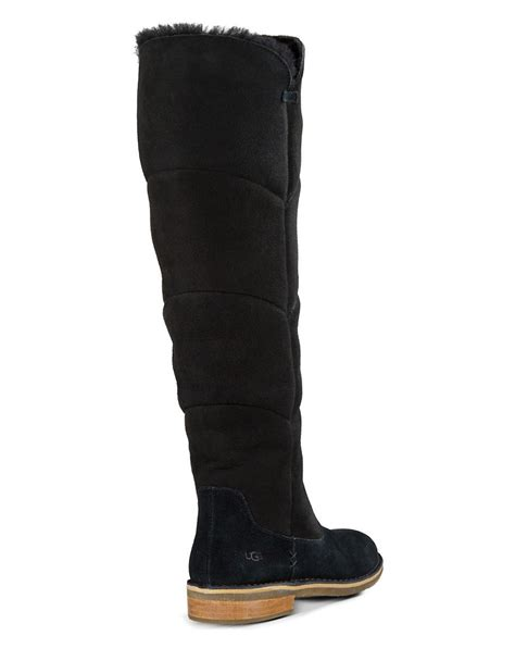 ugg knee high sheepskin boots in black lyst