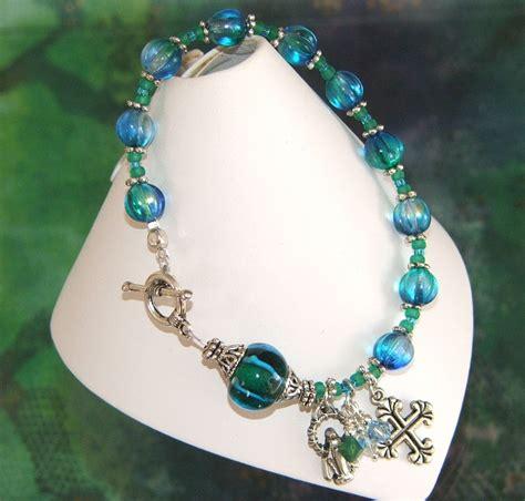 Handmade Rosary Bracelets - beautiful blue rosary bracelet in silver handmade felt
