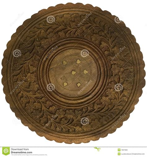 decorative carved table top isolated stock photo image