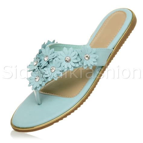sandals with flowers womens flat flower diamante embellished toe post
