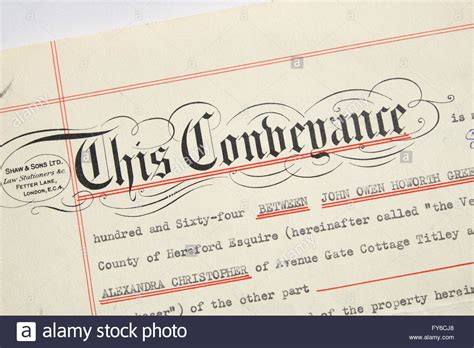 conveyance property title deed uk stock photo royalty